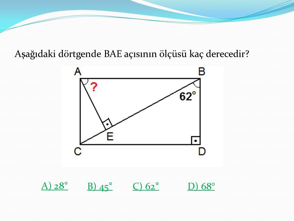 Aşağıdaki dörtgende BAE açısının ölçüsü kaç derecedir