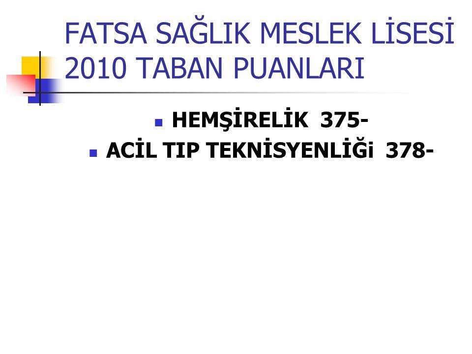 FATSA SAĞLIK MESLEK LİSESİ 2010 TABAN PUANLARI