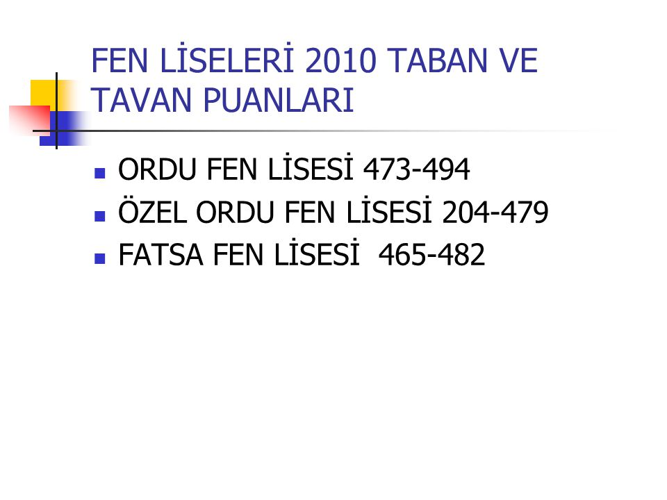 FEN LİSELERİ 2010 TABAN VE TAVAN PUANLARI