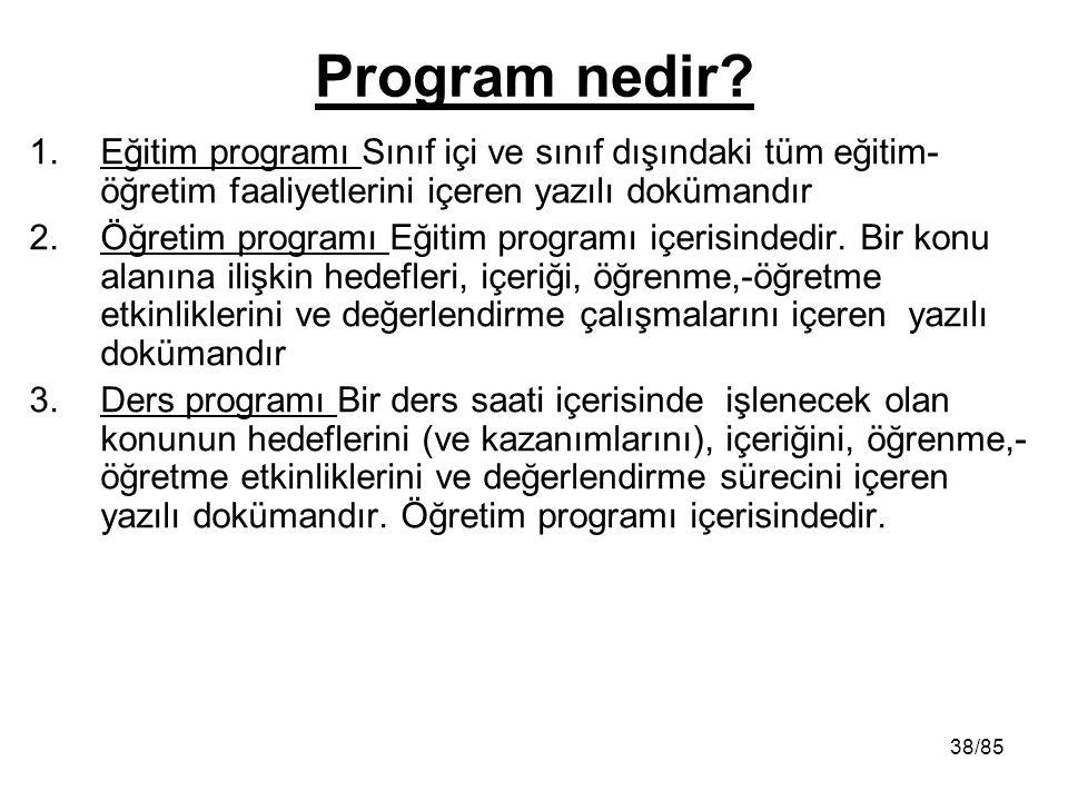 Program nedir Eğitim programı Sınıf içi ve sınıf dışındaki tüm eğitim-öğretim faaliyetlerini içeren yazılı dokümandır.