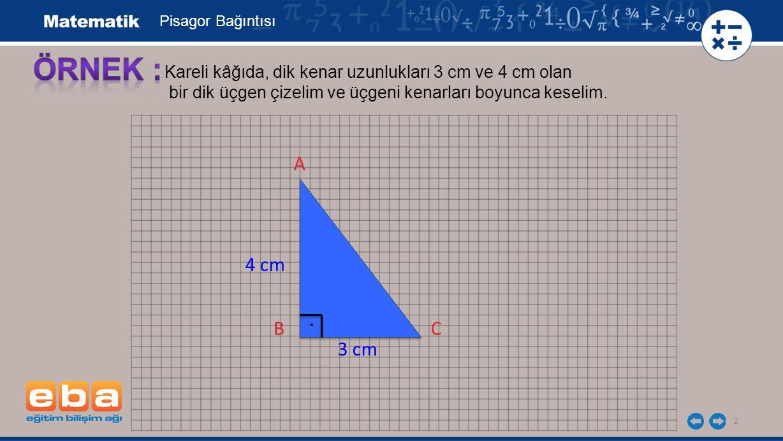 Pisagor Bağıntısı ÖRNEK : Kareli kâğıda, dik kenar uzunlukları 3 cm ve 4 cm olan. bir dik üçgen çizelim ve üçgeni kenarları boyunca keselim.