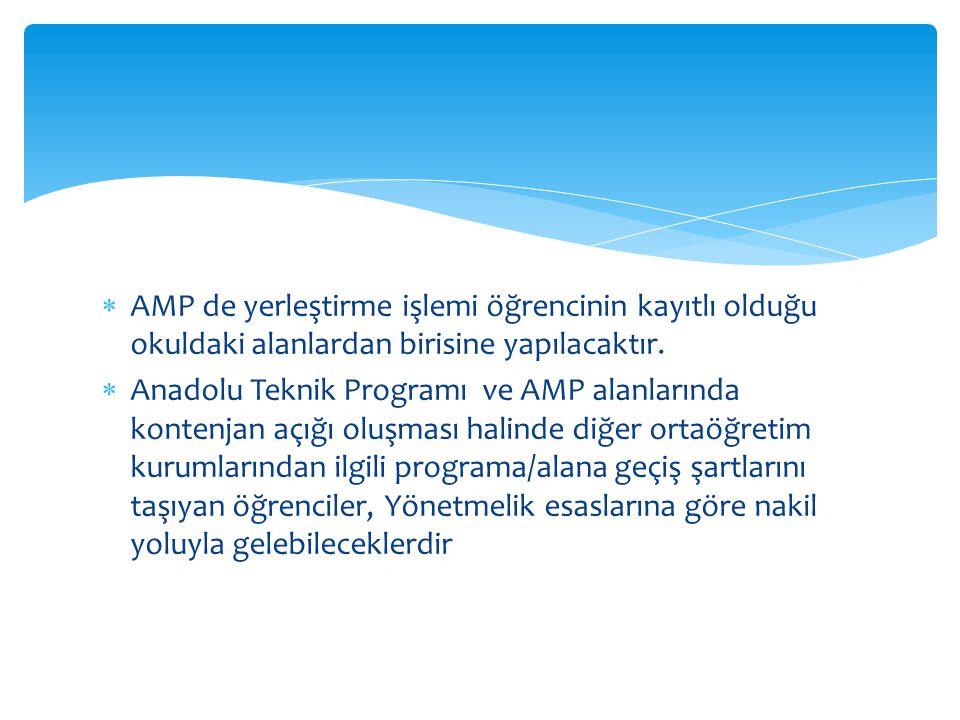 AMP de yerleştirme işlemi öğrencinin kayıtlı olduğu okuldaki alanlardan birisine yapılacaktır.