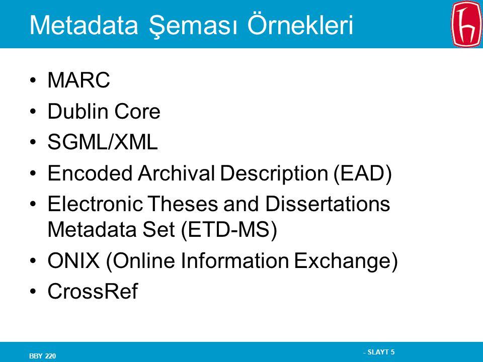 Metadata Şeması Örnekleri