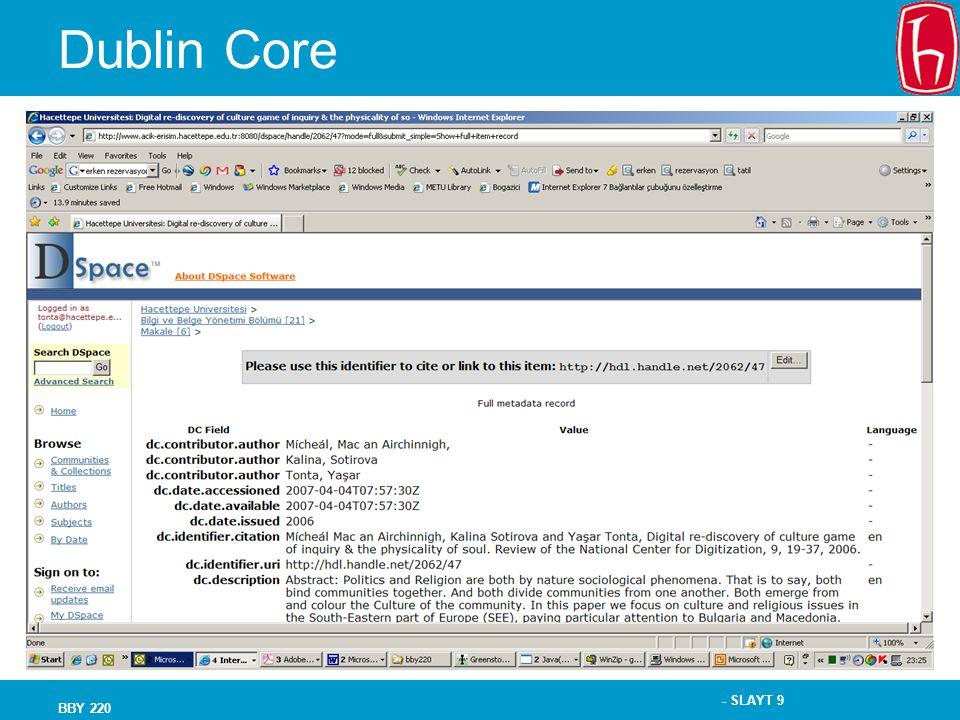 Dublin Core BBY 220