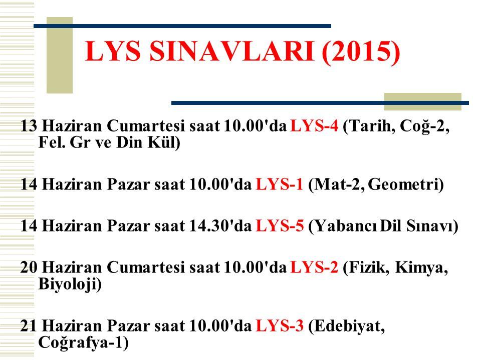 LYS SINAVLARI (2015) 13 Haziran Cumartesi saat 10.00 da LYS-4 (Tarih, Coğ-2, Fel. Gr ve Din Kül)