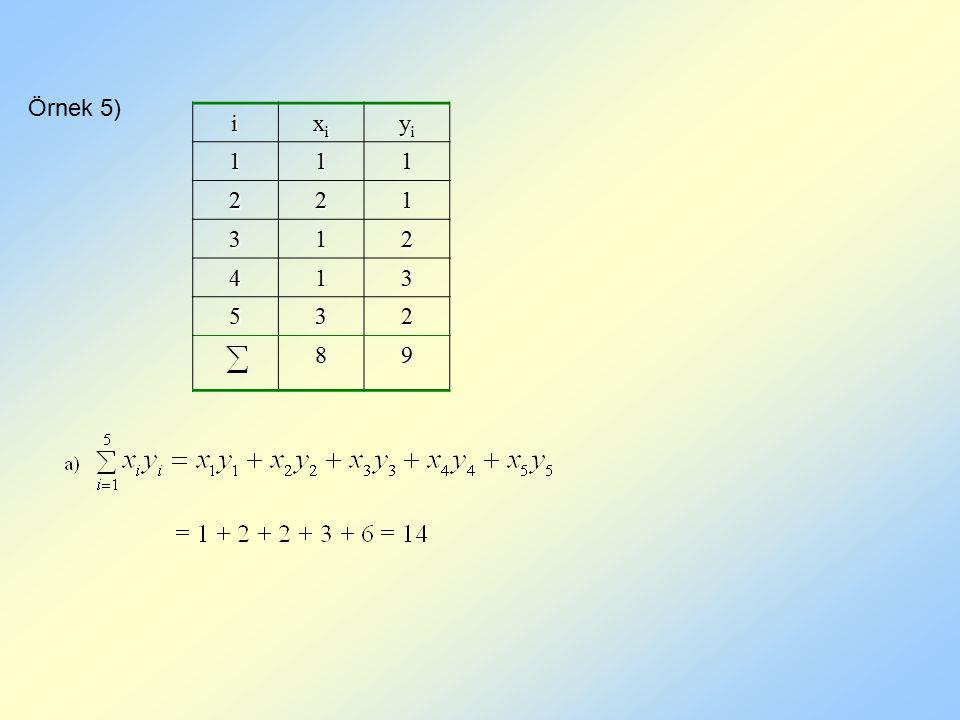 Örnek 5) i xi yi 1 2 3 4 5 8 9