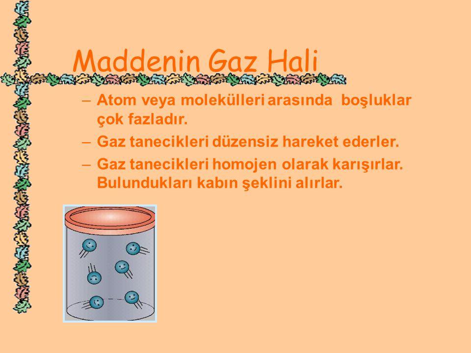 Maddenin Gaz Hali Atom veya molekülleri arasında boşluklar çok fazladır. Gaz tanecikleri düzensiz hareket ederler.