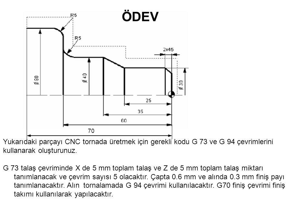ÖDEV 70. Yukarıdaki parçayı CNC tornada üretmek için gerekli kodu G 73 ve G 94 çevrimlerini kullanarak oluşturunuz.