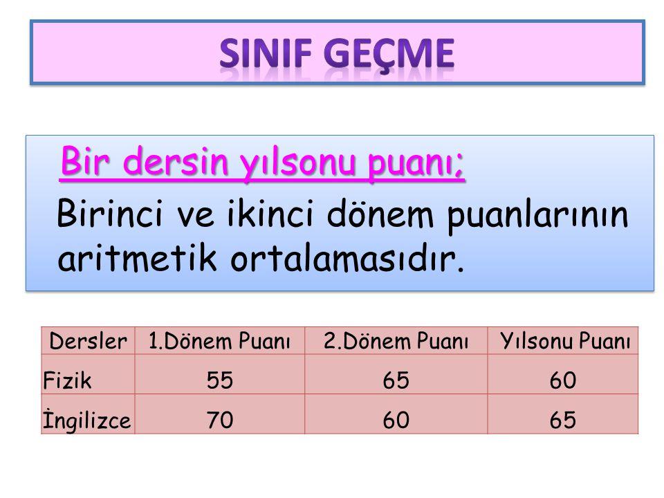 SINIF GEÇME Bir dersin yılsonu puanı; Birinci ve ikinci dönem puanlarının aritmetik ortalamasıdır.