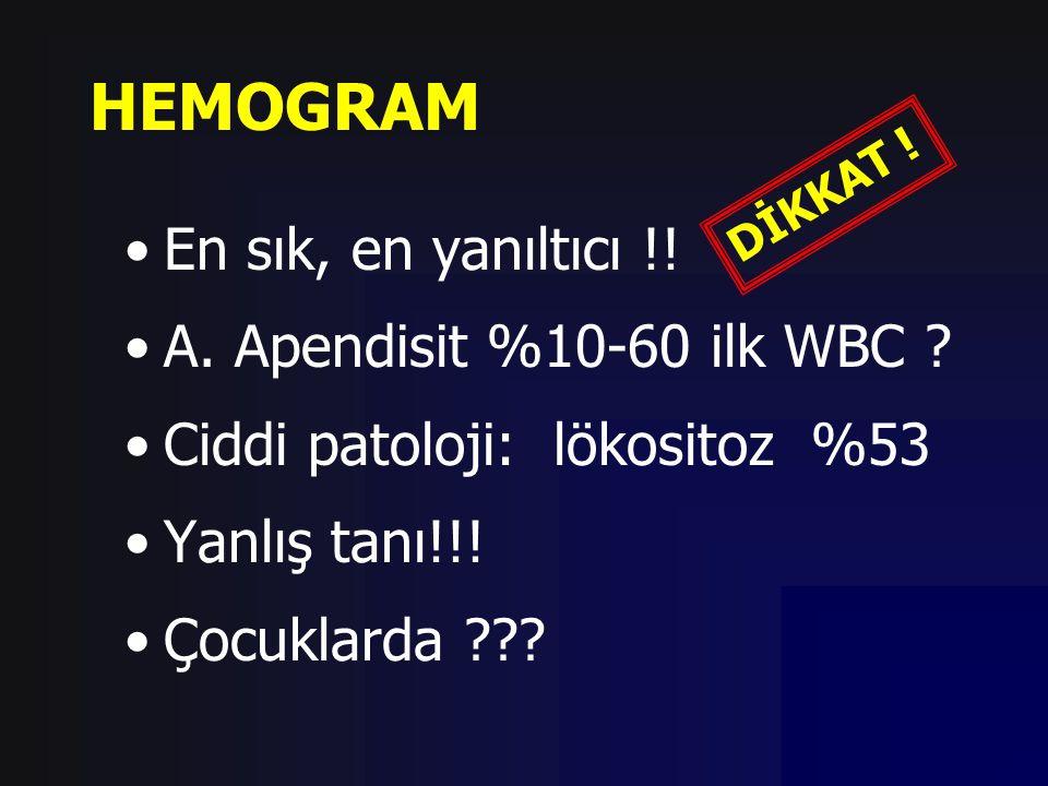 HEMOGRAM En sık, en yanıltıcı !! A. Apendisit %10-60 ilk WBC