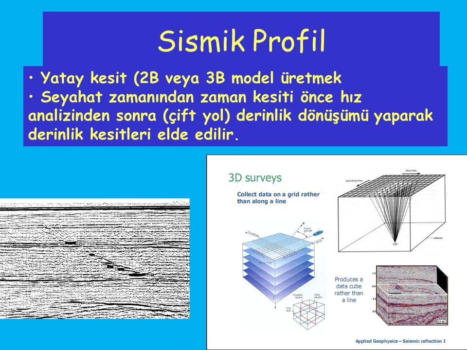 Sismik Profil Yatay kesit (2B veya 3B model üretmek