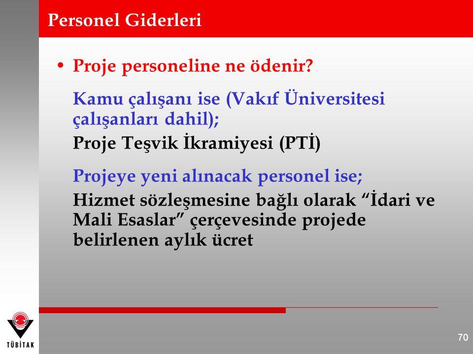 Personel Giderleri Proje personeline ne ödenir Kamu çalışanı ise (Vakıf Üniversitesi çalışanları dahil);