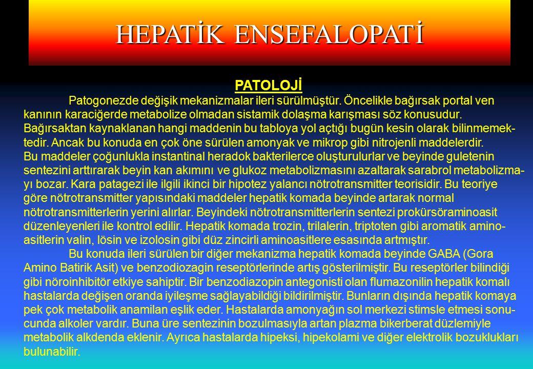 HEPATİK ENSEFALOPATİ Klinik; Hastalarda uykuda sıklıkla komayı presipite edici bir faktör vardır. Hepatik komayı presipite edici faktörler.