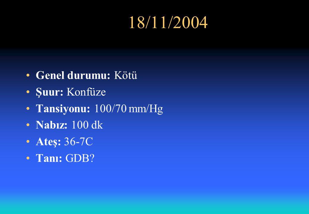 Laboratuar Sonuçları: 18/11/2004 Saat:08:00 Gönderen Servis: Acil Dahiliye kliniği (Yatan)