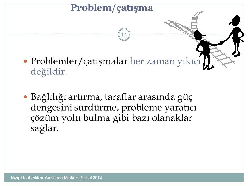 Problemler/çatışmalar her zaman yıkıcı değildir.