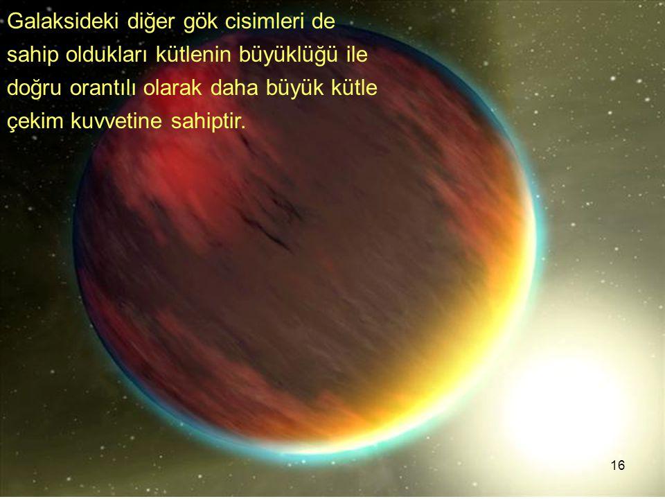 Galaksideki diğer gök cisimleri de sahip oldukları kütlenin büyüklüğü ile doğru orantılı olarak daha büyük kütle çekim kuvvetine sahiptir.