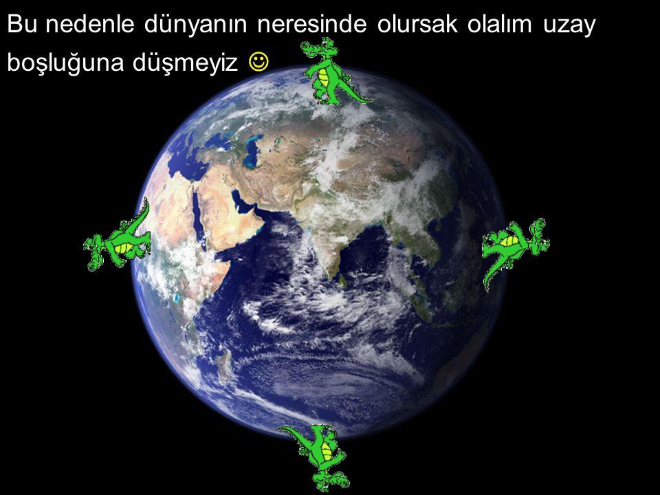 Bu nedenle dünyanın neresinde olursak olalım uzay boşluğuna düşmeyiz 
