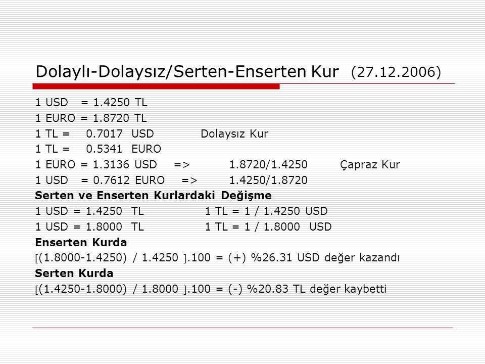 Dolaylı-Dolaysız/Serten-Enserten Kur (27.12.2006)