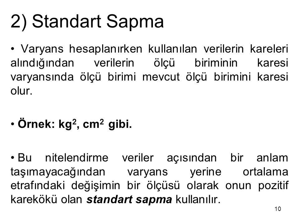 2) Standart Sapma