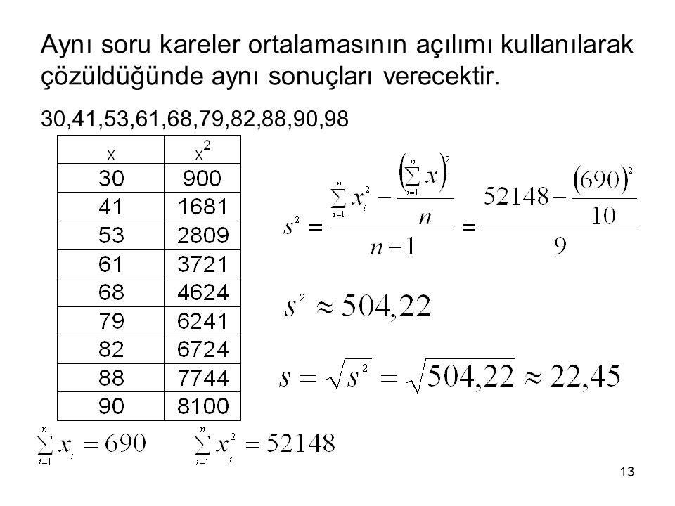 Aynı soru kareler ortalamasının açılımı kullanılarak çözüldüğünde aynı sonuçları verecektir.