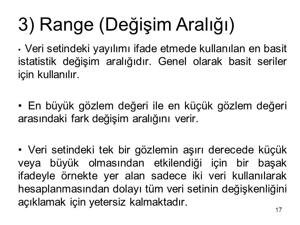 3) Range (Değişim Aralığı)