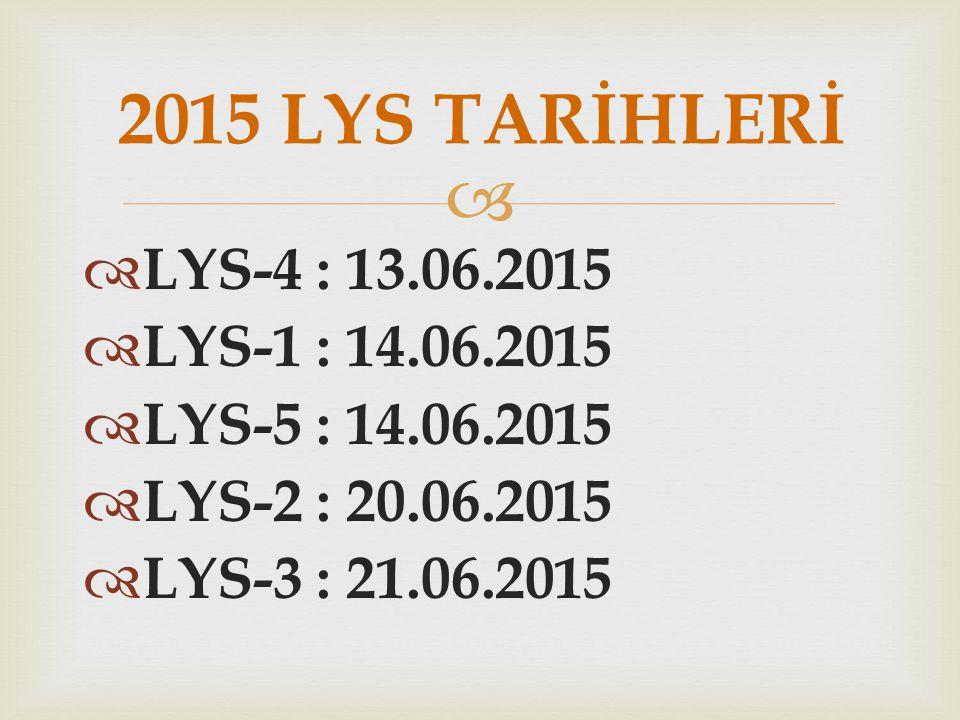 2015 LYS TARİHLERİ LYS-4 : 13.06.2015 LYS-1 : 14.06.2015