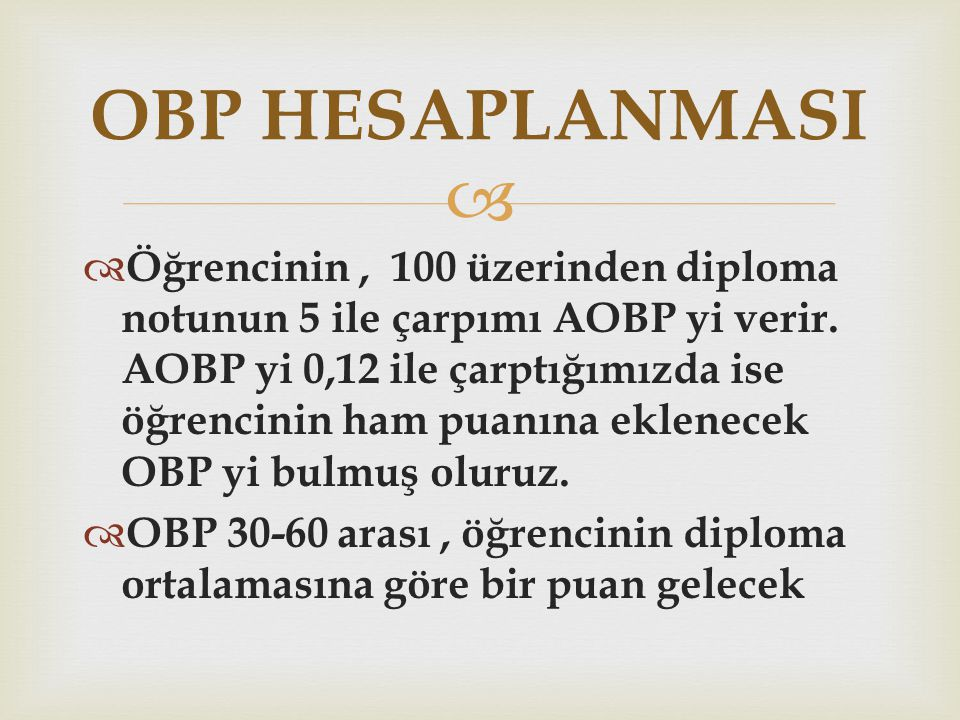 OBP HESAPLANMASI