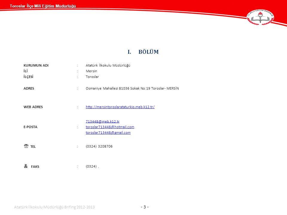 BÖLÜM  TEL  FAKS Atatürk İlkokulu Müdürlüğü Brifing 2012-2013 - 3 -
