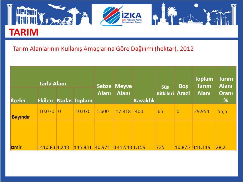 TARIM Tarım Alanlarının Kullanış Amaçlarına Göre Dağılımı (hektar), 2012. Tarla Alanı. Sebze. Alanı.
