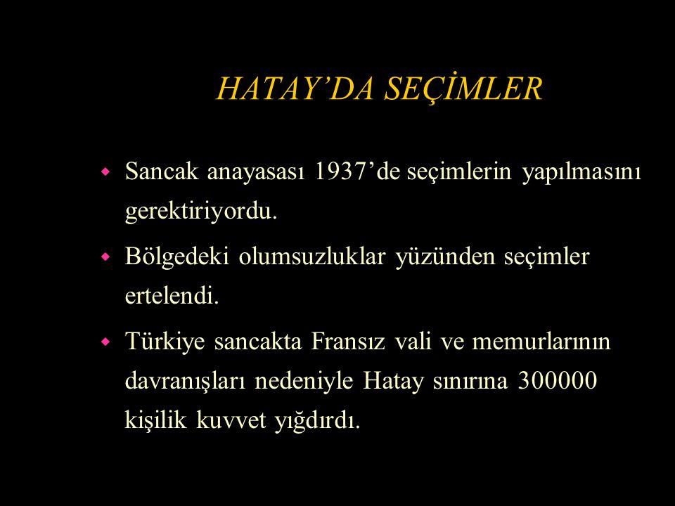 HATAY'DA SEÇİMLER Sancak anayasası 1937'de seçimlerin yapılmasını gerektiriyordu. Bölgedeki olumsuzluklar yüzünden seçimler ertelendi.