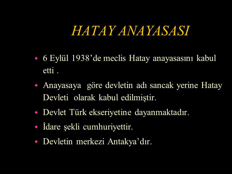 HATAY ANAYASASI 6 Eylül 1938'de meclis Hatay anayasasını kabul etti .