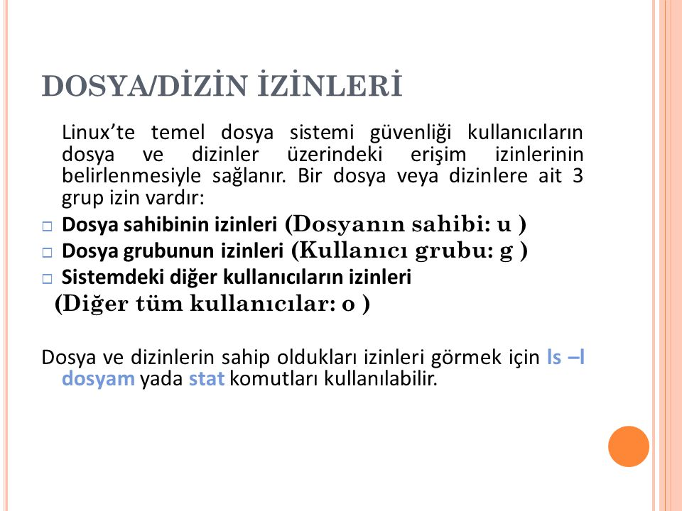 DOSYA/DİZİN İZİNLERİ