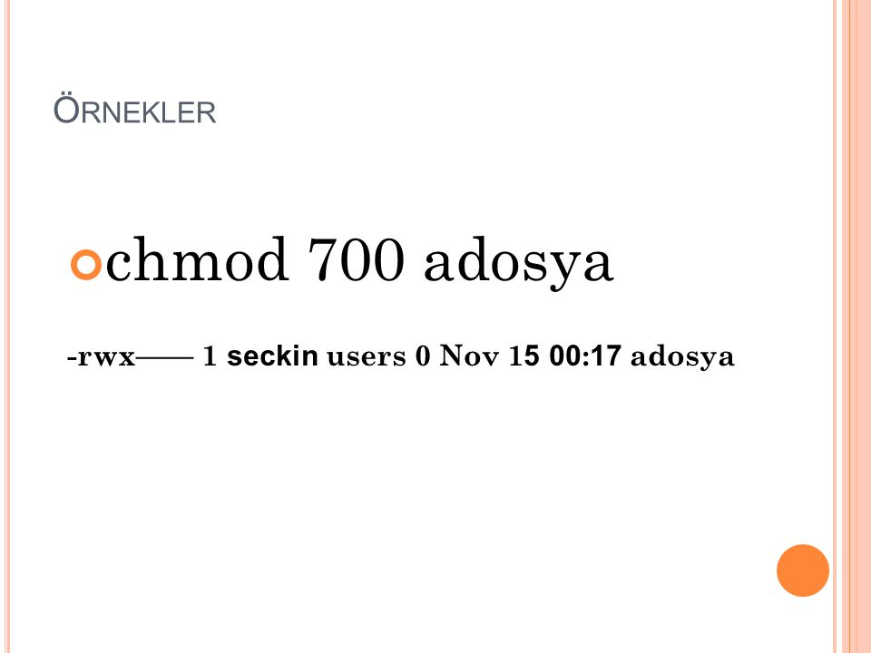 Örnekler chmod 700 adosya -rwx—— 1 seckin users 0 Nov 15 00:17 adosya