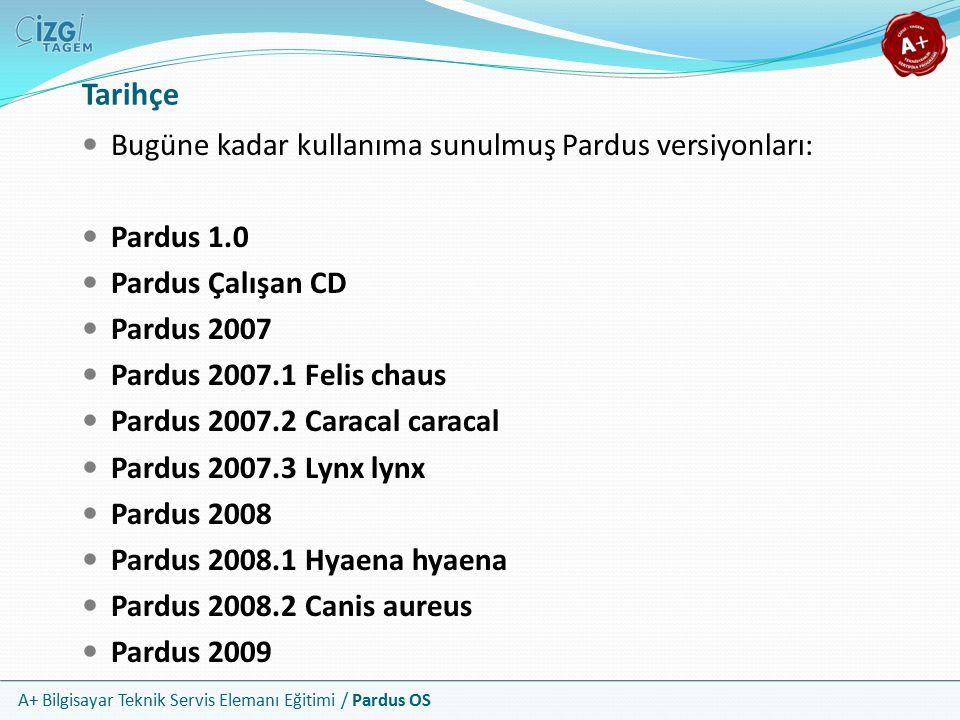 Tarihçe Bugüne kadar kullanıma sunulmuş Pardus versiyonları: