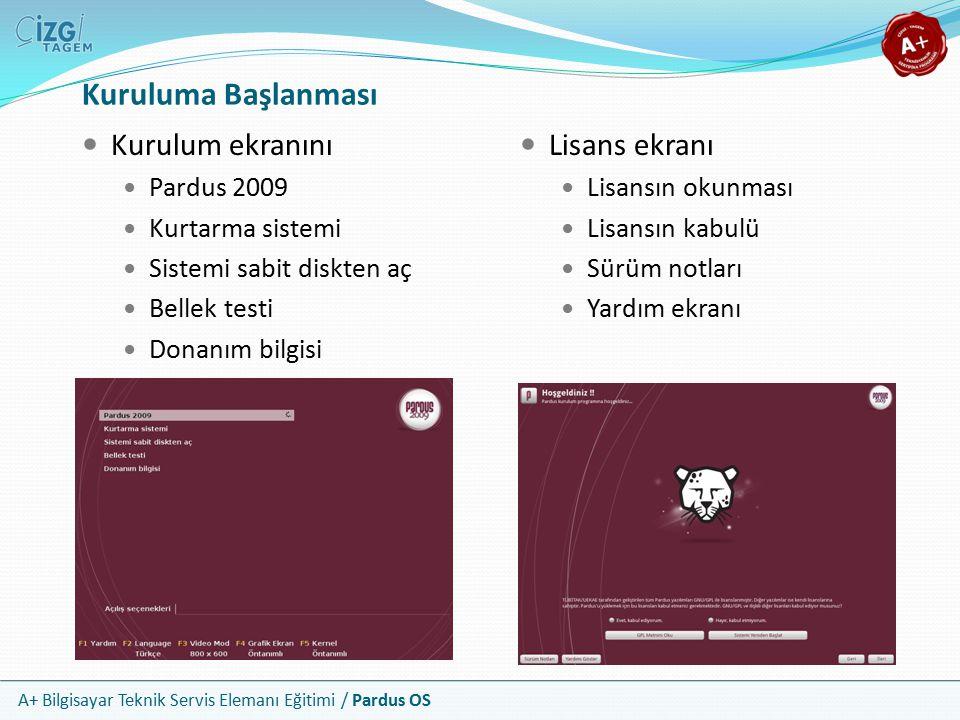 Kuruluma Başlanması Kurulum ekranını Lisans ekranı Pardus 2009