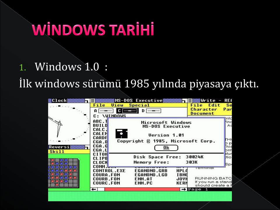 WİNDOWS TARİHİ Windows 1.0 :