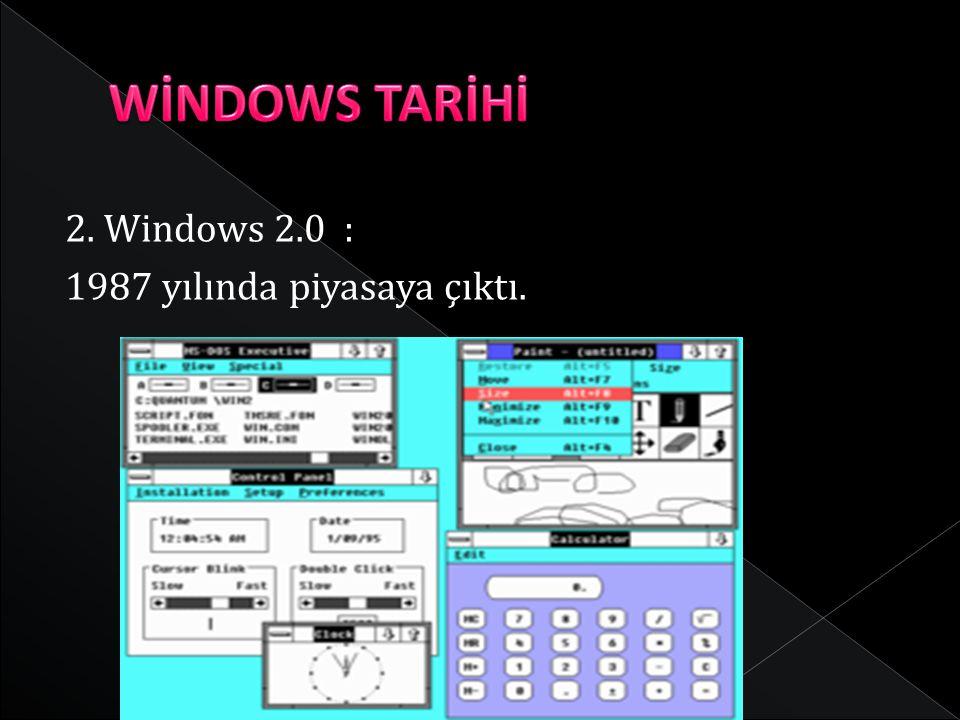 WİNDOWS TARİHİ 2. Windows 2.0 : 1987 yılında piyasaya çıktı.
