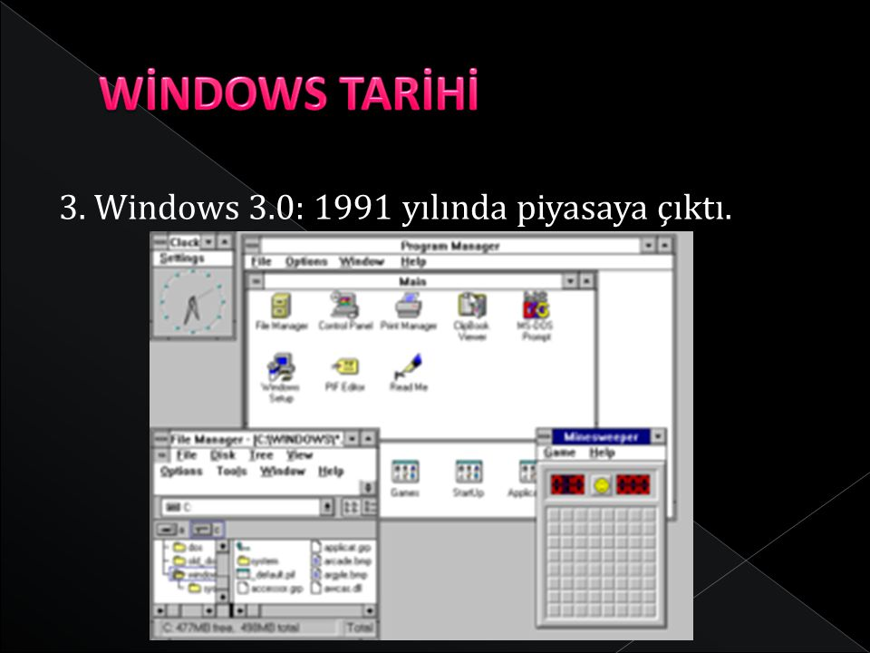 WİNDOWS TARİHİ 3. Windows 3.0: 1991 yılında piyasaya çıktı.
