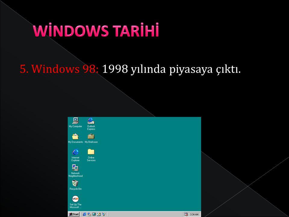 WİNDOWS TARİHİ 5. Windows 98: 1998 yılında piyasaya çıktı.