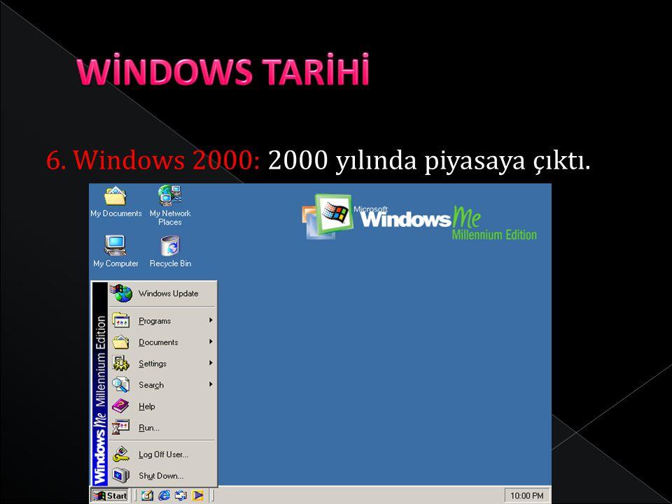 WİNDOWS TARİHİ 6. Windows 2000: 2000 yılında piyasaya çıktı.