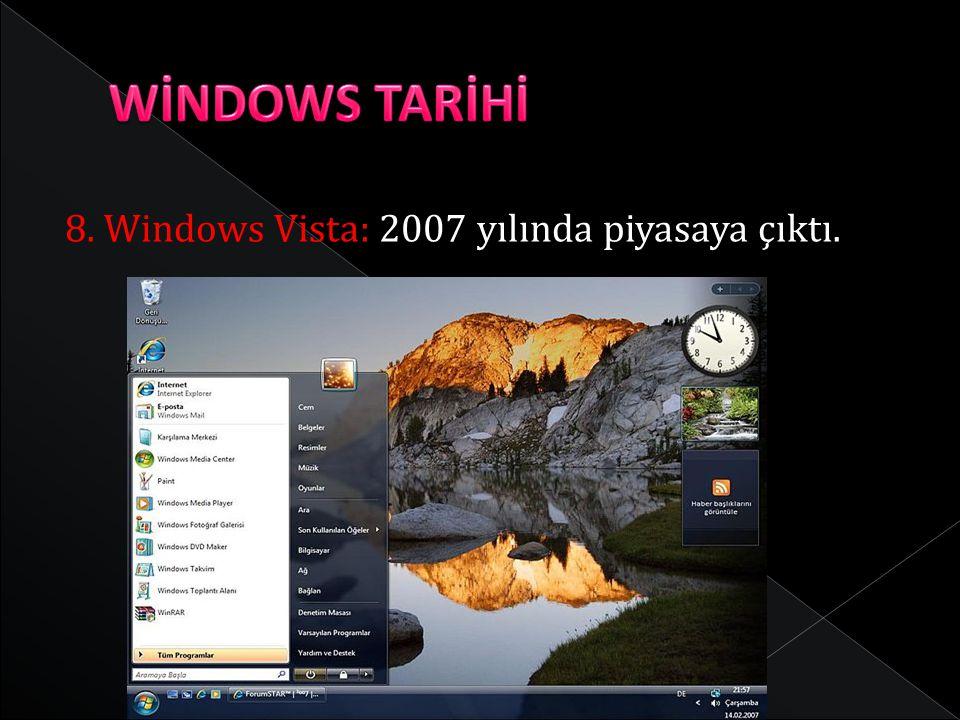 WİNDOWS TARİHİ 8. Windows Vista: 2007 yılında piyasaya çıktı.