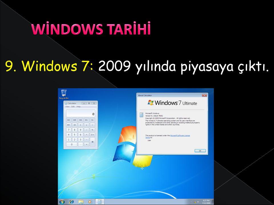 WİNDOWS TARİHİ 9. Windows 7: 2009 yılında piyasaya çıktı.