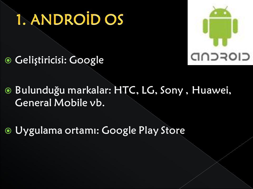 1. ANDROİD OS Geliştiricisi: Google
