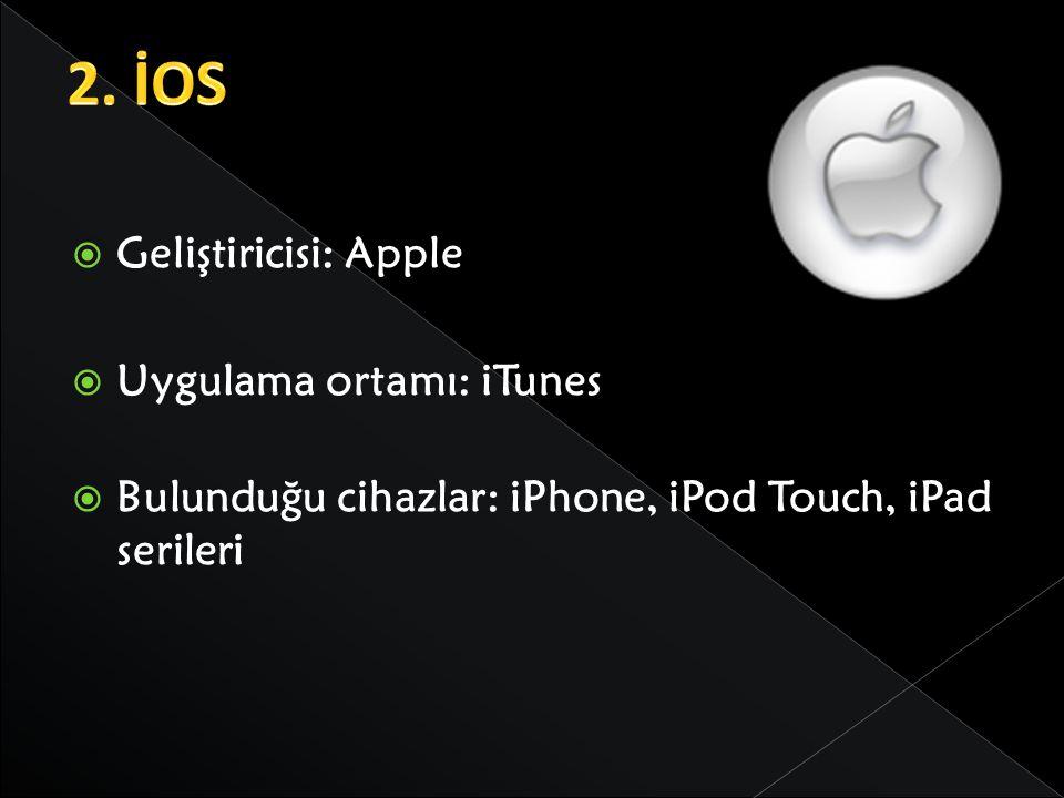 2. İOS Geliştiricisi: Apple Uygulama ortamı: iTunes