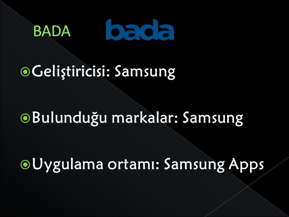 BADA Geliştiricisi: Samsung Bulunduğu markalar: Samsung