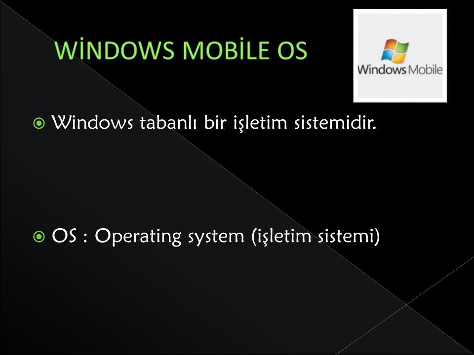 WİNDOWS MOBİLE OS Windows tabanlı bir işletim sistemidir.