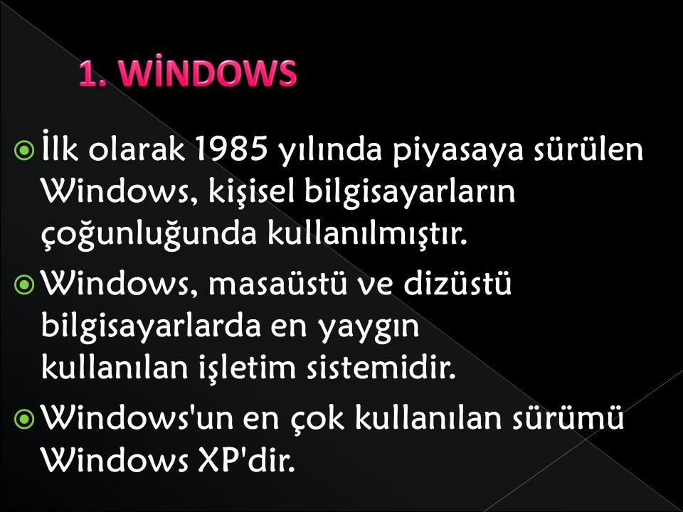 1. WİNDOWS İlk olarak 1985 yılında piyasaya sürülen Windows, kişisel bilgisayarların çoğunluğunda kullanılmıştır.