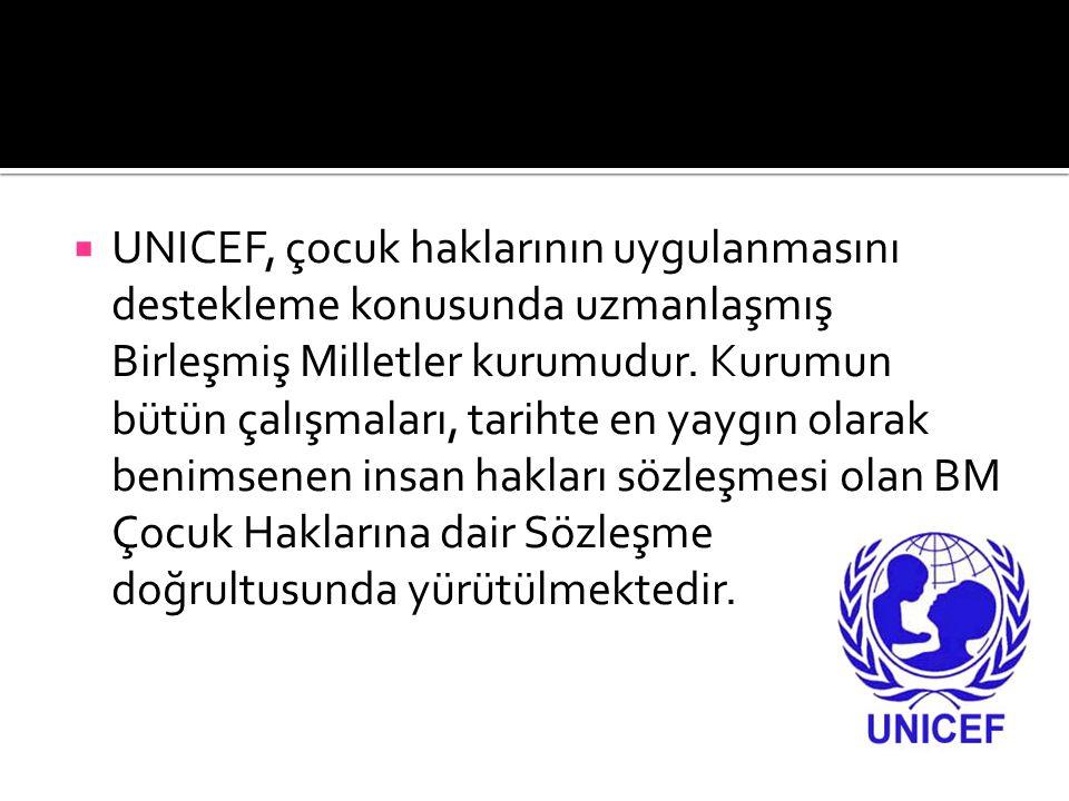 UNICEF, çocuk haklarının uygulanmasını destekleme konusunda uzmanlaşmış Birleşmiş Milletler kurumudur.
