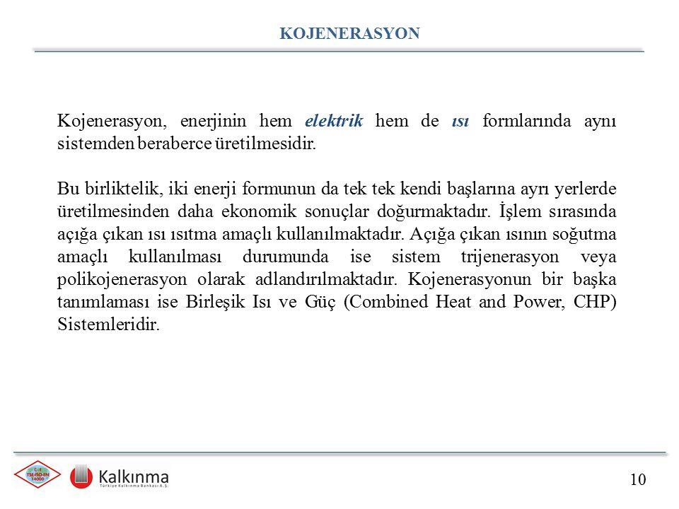 KOJENERASYON Kojenerasyon, enerjinin hem elektrik hem de ısı formlarında aynı sistemden beraberce üretilmesidir.