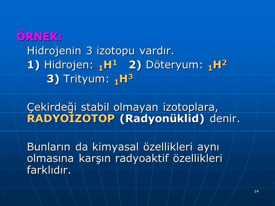 ÖRNEK: Hidrojenin 3 izotopu vardır. 1) Hidrojen: 1H1 2) Döteryum: 1H2. 3) Trityum: 1H3.
